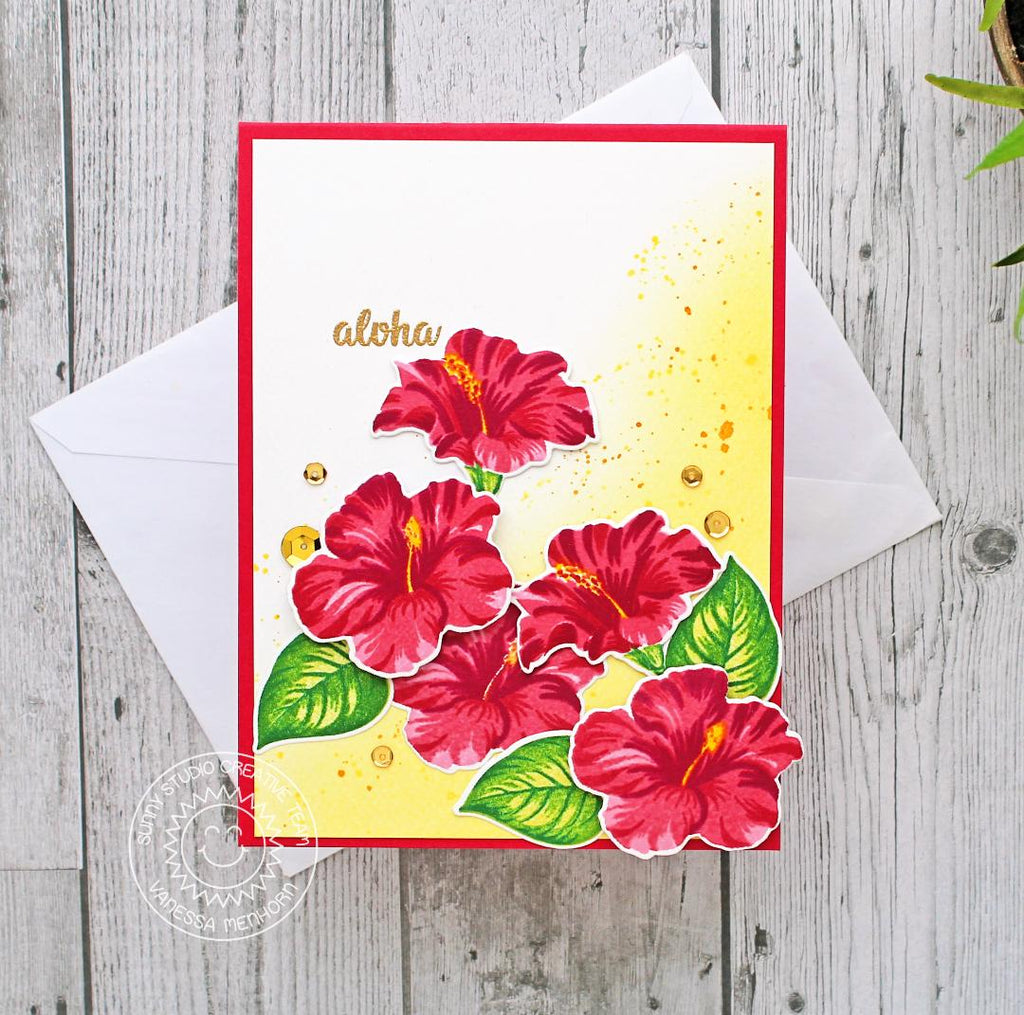 Sunny Studio Stamps Hawaiian Hibiscus Red Layered Flower Aloha Card by Vanessa Menhorn