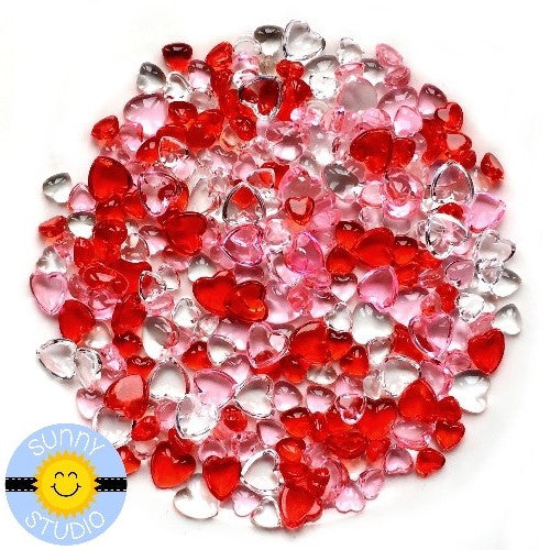 Sunny Studio Stamps Red, Pink & Clear Droplets Mix 4mm & 6mm - Crystal Clear Glass-like Drop Embellishments for Shaker Cards & Valentine's Day