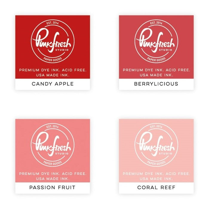 Pink Fresh Studio Pink Fresh 4-pack Mini Dye Ink Cubes Red Set-Heartbeat includes Candy Apple, Berrylicious, Passion Fruit & Coral Reef