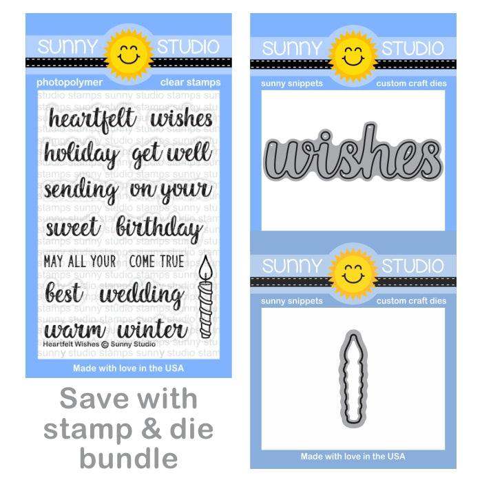 Sunny Studio Heartfelt Wishes 3x4 Clear Greeting Stamps, Wishes Word Die & Candle Die Bundle Set