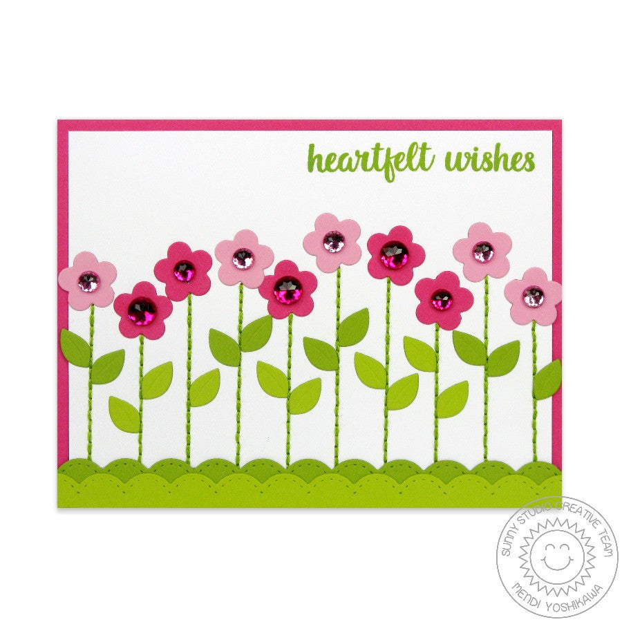 Sunny Studio Stamps Flower Border Card using Stitched Scalloped Border Dies