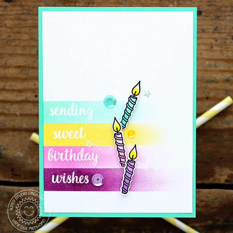 Sunny Studio Stamps Heartfelt Wishes 3 Candles Birthday Card