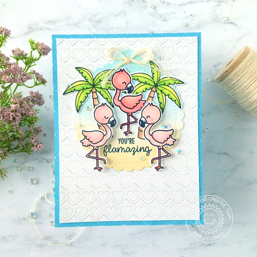 Sunny Studio Stamps Flamingos and Palm Trees Summer Handmade Encouragement Card (using Stitched Scalloped Circle Tag Die)