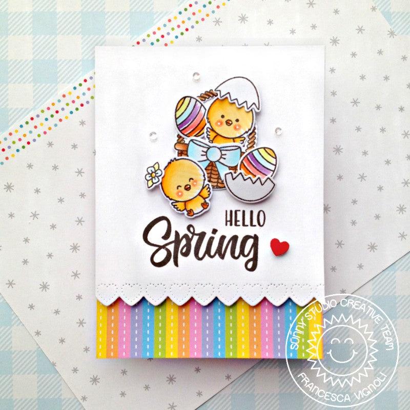 Sunny Studio Stamps Hello Spring Easter Chicks with Basket & Eggs Handmade Card (using Heartstring Heart Border Metal Cutting Dies)