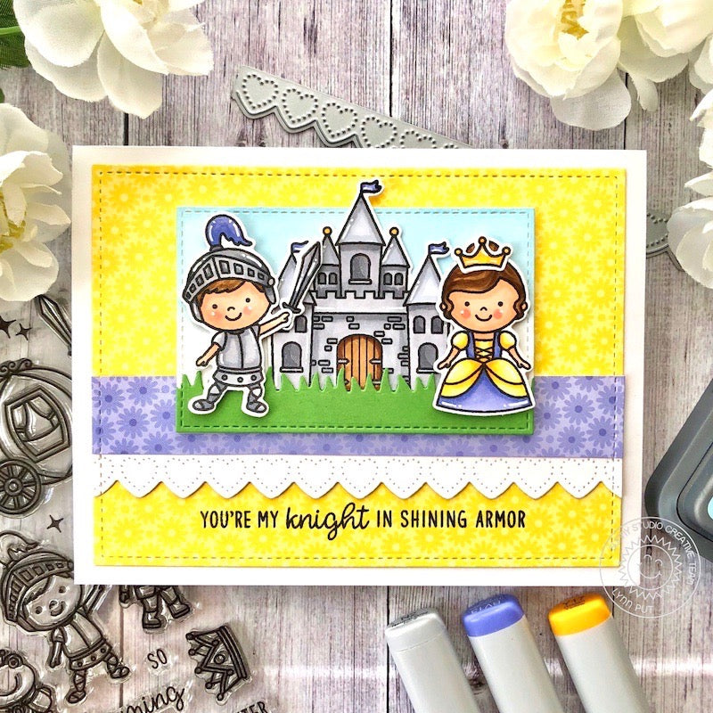 Sunny Studio Stamps You're My Knight In Shining Armor Princess with Castle Handmade Card (using Heartstring Heart Border Metal Cutting Dies)