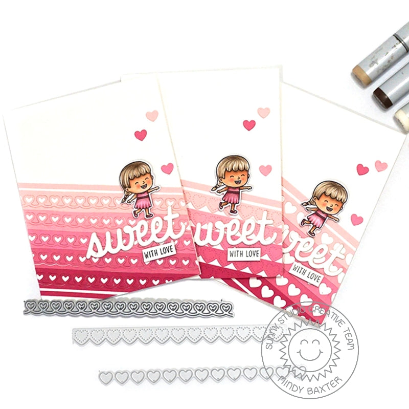 Sunny Studio Stamps Pink & Red Ombre Girl Valentine's Day Card Set (using Heartstrings Heart Border Cutting Dies)