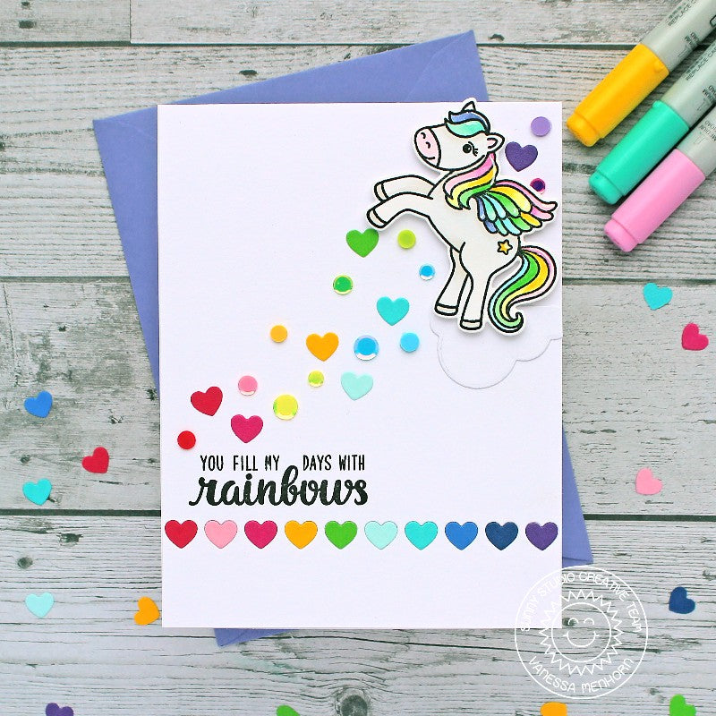 Sunny Studio Stamps Trailing Scattered Heart Confetti Rainbow Pegasus Handmade Card (using Heartstrings Border Cutting Dies)