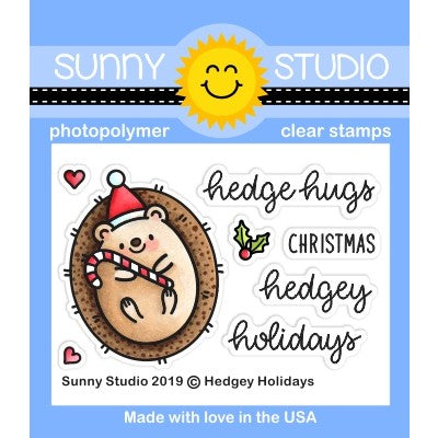 Sunny Studio Stamps Hedgey Holidays Christmas Hedge Hugs Hedgehog Punny 2x3 Clear Photopolymer Stamp Set