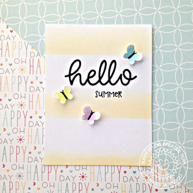 Sunny Studio Stamps Summer Butterfly Card featuring hello scripty word die