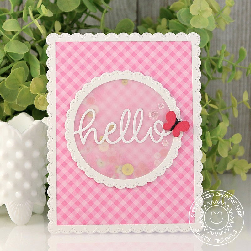 Sunny Studio Stamps Pink Gingham Hello Shaker Card using Fancy Frames Circle Dies