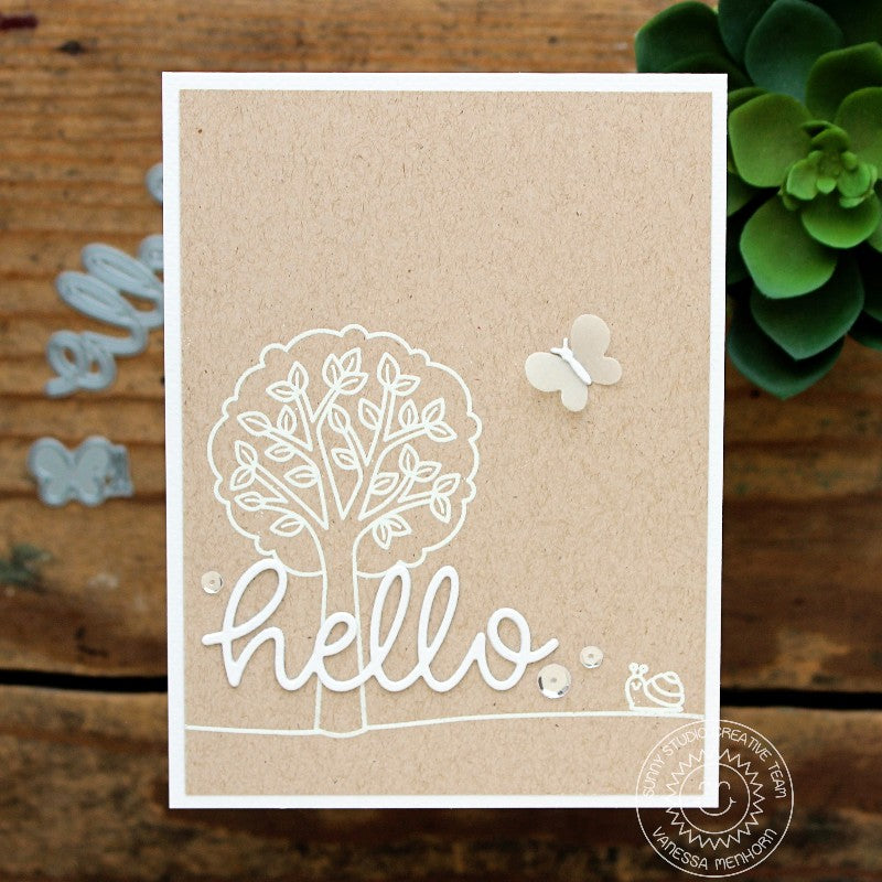 Sunny Studio Stamps White Embossing on Kraft Monochromatic Tree Card using Hello Word Die