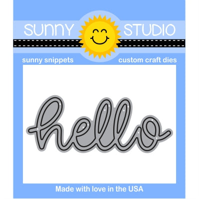 "Sunny Studio Stamp 2.75"" wide Hello Word Die with Script Handwritten Cursive"