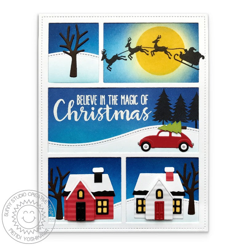 Sunny Studio Stamps Winter Scene Christmas Card using Comic Strip Dies