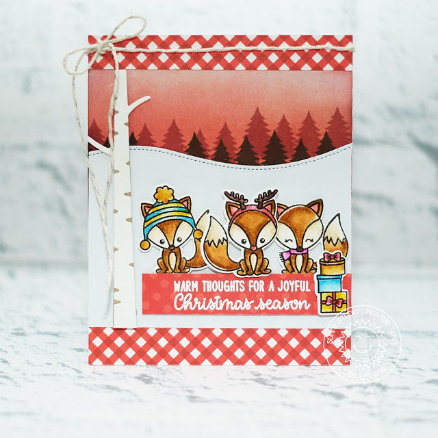 Sunny Studio Foxy Christmas Fox Holiday Card (using trees from Here Comes Santa stamps)