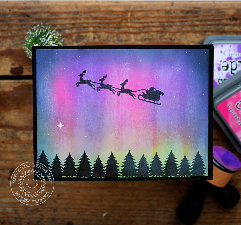 Sunny Studio Stamps Northern Lights Here Comes Santa Christmas Card