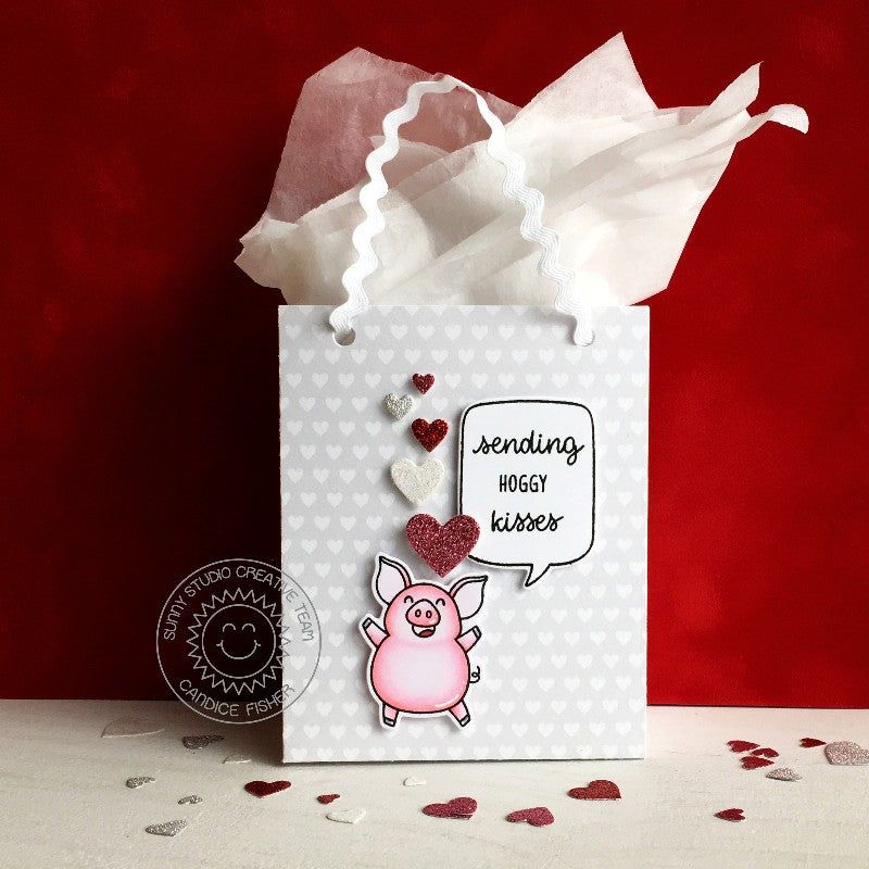 Sunny Studio Stamps Hogs & Kisses Pig Valentine's Gift Bag (using Sweet Treats Bag Metal Cutting Dies)