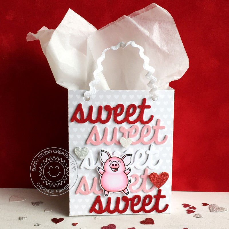 Sunny Studio Stamps Red, White and Pink Pig Valentine's Day Gift Bag (using Sweet Word & Sweet Treats Cutting Dies)