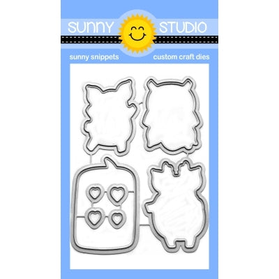 Sunny Studio Stamps Hogs & Kisses Pig & Speech Bubble Metal Cutting Dies
