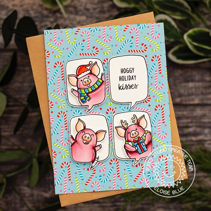 Sunny Studio Stamps Candy Cane and Piggy Handmade Christmas Holiday Card by Eloise Blue (using Very Merry 6x6 Patterned Paper Pack)