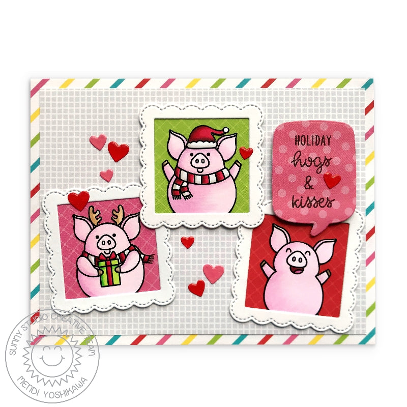 Sunny Studio Stamps Holiday Hogs & Kisses Pig Christmas Card using Very Merry 6x6 Patterned Paper