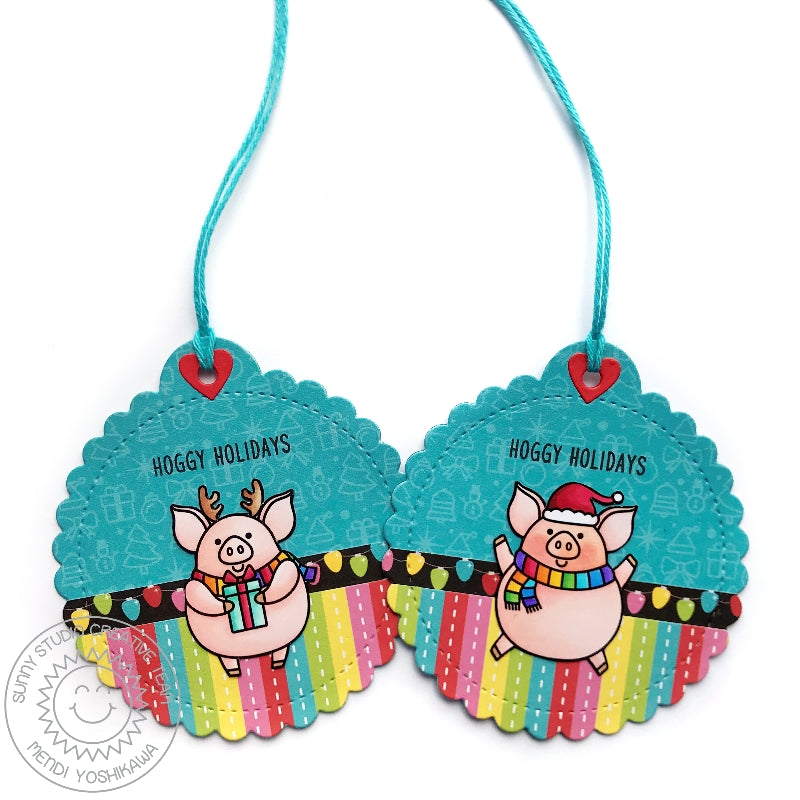 Sunny Studio Stamps Hoggy Holidays Rainbow Pig Stitched Scalloped Circle Christmas Gift Tags