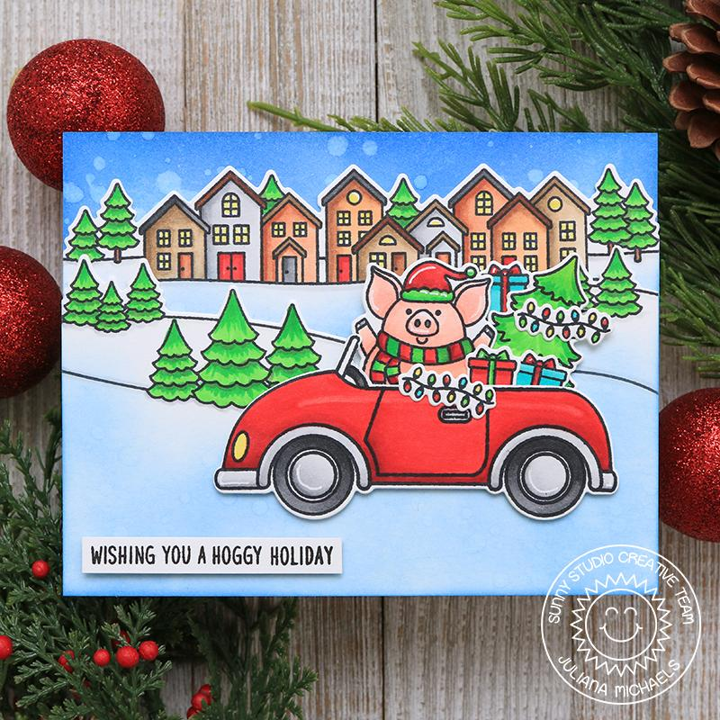 Sunny Studio Stamps Cruising Critters Pig Driving Car Handmade Holiday Christmas Card by Juliana Michaels