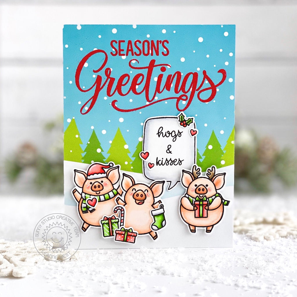 Sunny Studio Stamps Piggy Themed Handmade Christmas Holiday Card with snowy hillsides with trees background (using Very Merry 6x6 Patterned Paper Pack)