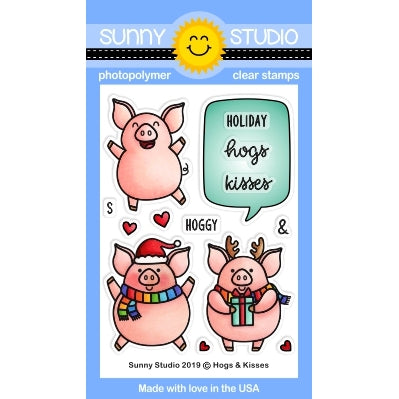 Sunny Studio Stamps Hogs & Kisses Christmas Holiday Pig 3x4 Clear Photopolymer Stamp Set