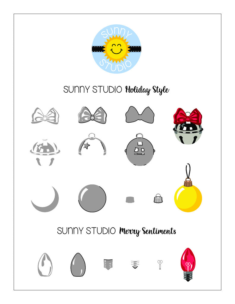 Sunny Studio Holiday Style Stamp Layering Printable Alignment Guide