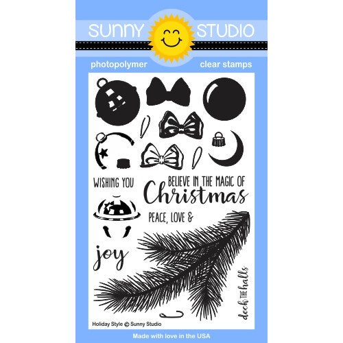 Sunny Studio Stamps Holiday Style 4x6 Christmas Tree Branch, Layering Jingle Bell, Ornament & Bow Photo-Polymer Clear Stamp Set