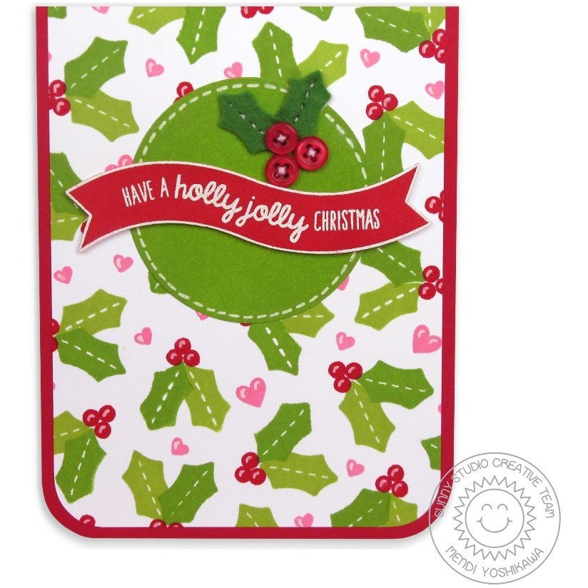 Sunny Studio Stamps Basic Mini Shape Dies Holly Jolly Christmas Card