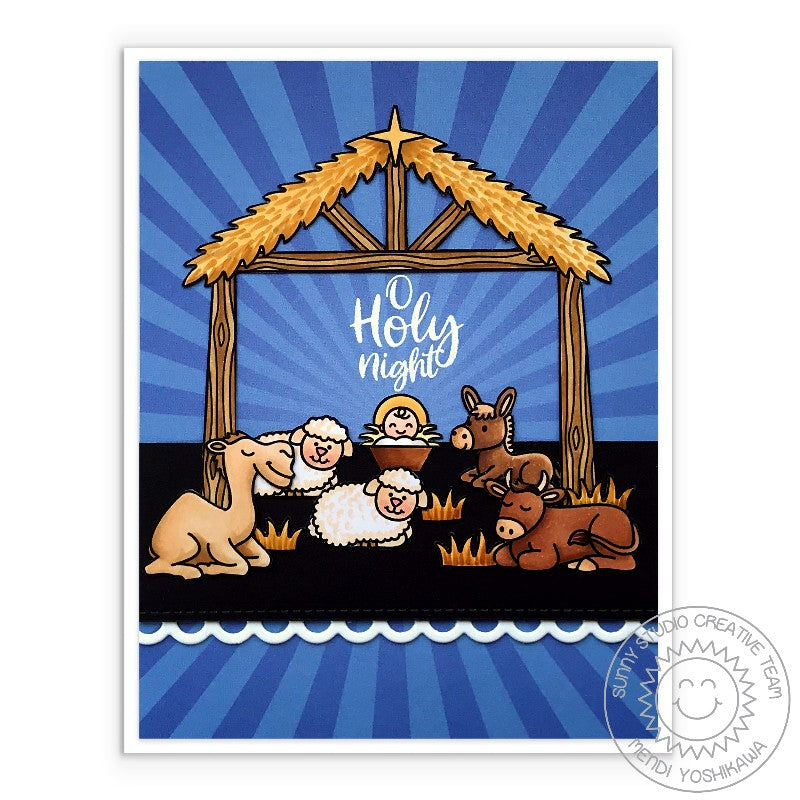 Sunny Studio Stamps O Holy Night Baby Jesus in the Stable with Barn Animals Blue Sun Ray Nativity Holiday Christmas Card (using Classic Sunburst 6x6 Double Sided Patterned Paper Pack)
