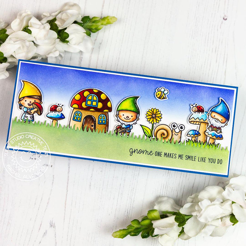 Sunny Studio Stamps Gnomes with Mushroom House, Snail, Bumblebee & Ladybugs Handmade Slimline Card (using Backyard Bugs 4x6 Clear Photo-polymer Stamp Set)