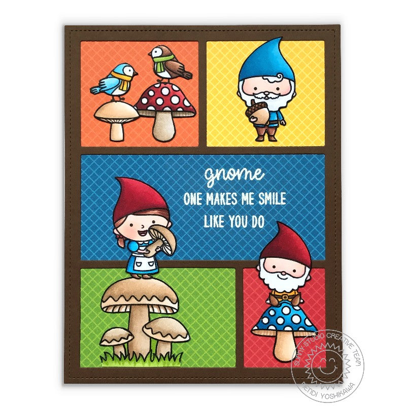 Sunny Studio Stamps Home Sweet Gnome Colorblock Brown Grid Style Card