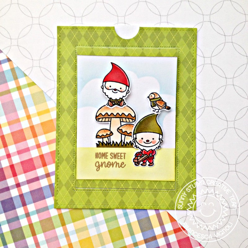 Sunny Studio Green Argyle Gnome Card using Amazing Argyle 6x6 Paper Pad