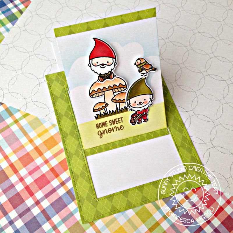 Sunny Studio Stamps Green Gnome Card by Franci featuring Sliding Window Dies