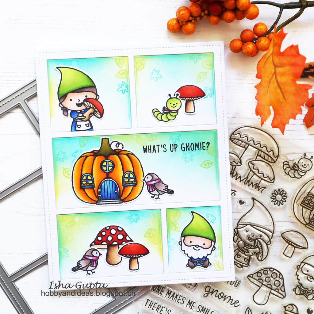 Sunny Studio Stamps What's up Gnomie Gnome Card using Comic Strip Everyday Dies