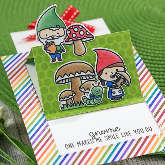 Sunny Studio Stamps Colorful Gnome Pop-up Card by Juliana Michaels featuring Sliding Window Dies