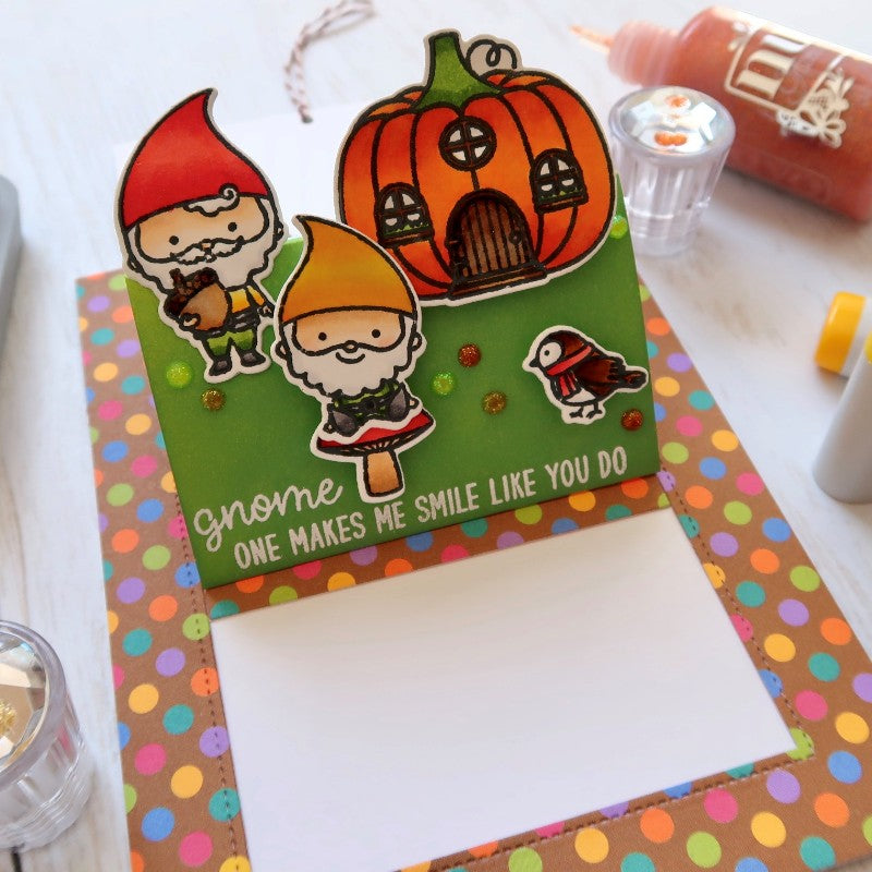 Sunny Studio Stamps Fall Gnome Pop-up Card by Franci featuring Sliding Window Dies