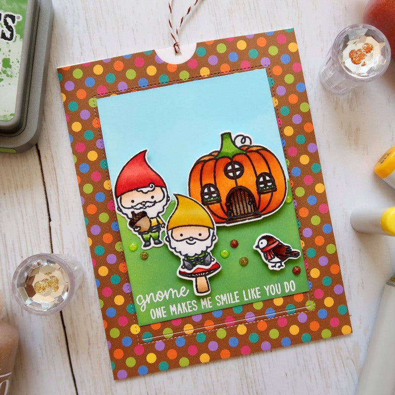 Sunny Studio Stamps Home Sweet Gnome Polka-dot Pop-up Card by Laura