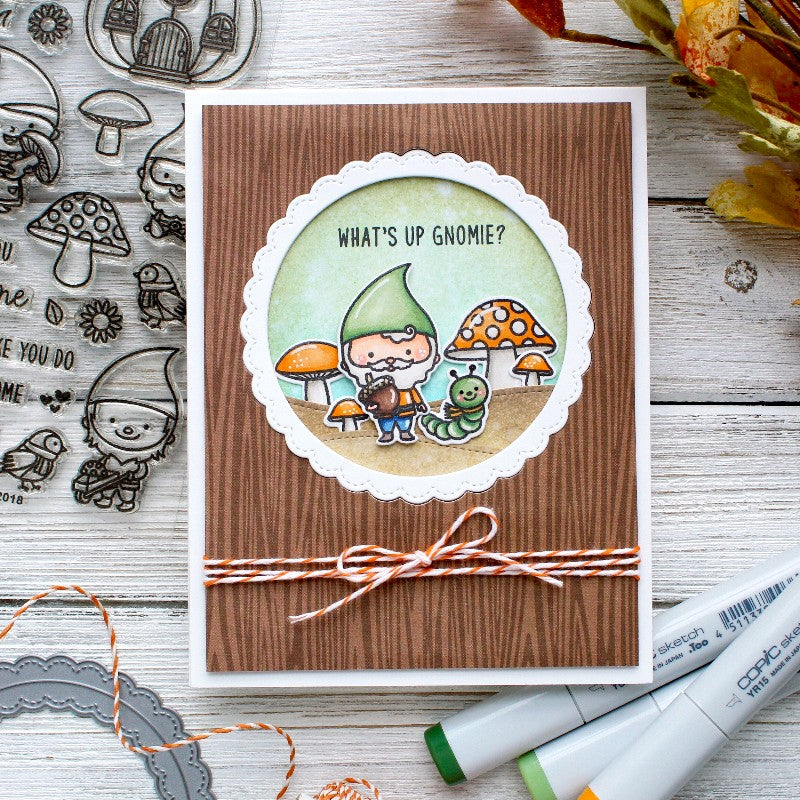 Sunny Studio Stamps Home Sweet Gnome Brown Wood grain Card