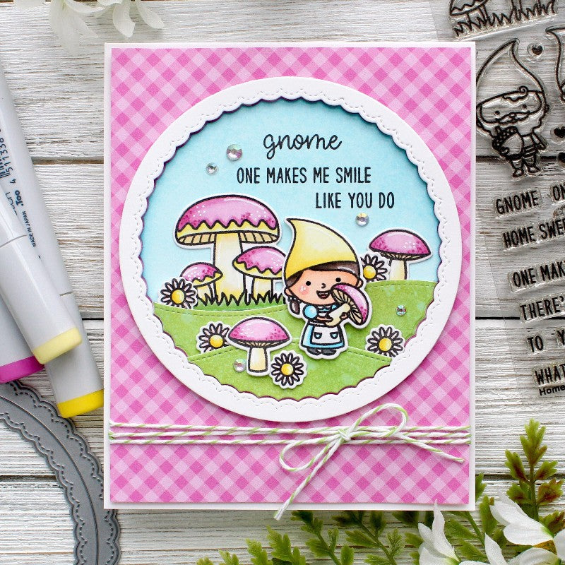 Sunny Studio Stamps Home Sweet Gnome Pink Gingham Girly Card