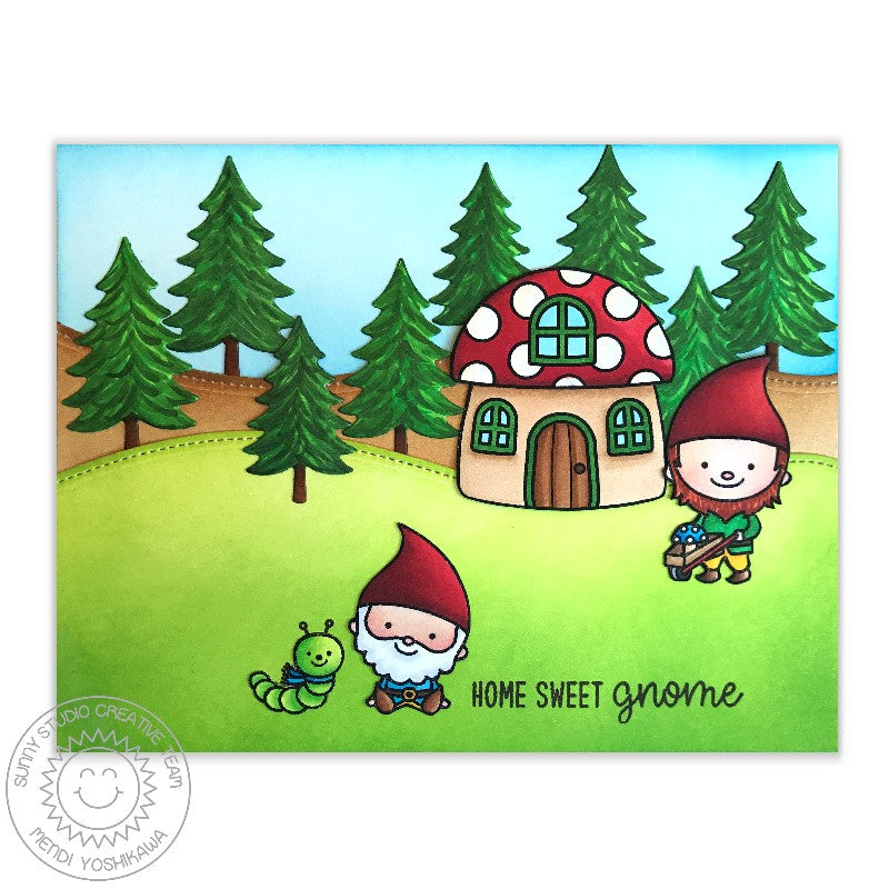 Sunny Studio Stamps Home Sweet Gnome Mushroom House Card featuring Fir Tree dies colored with Copic Markers