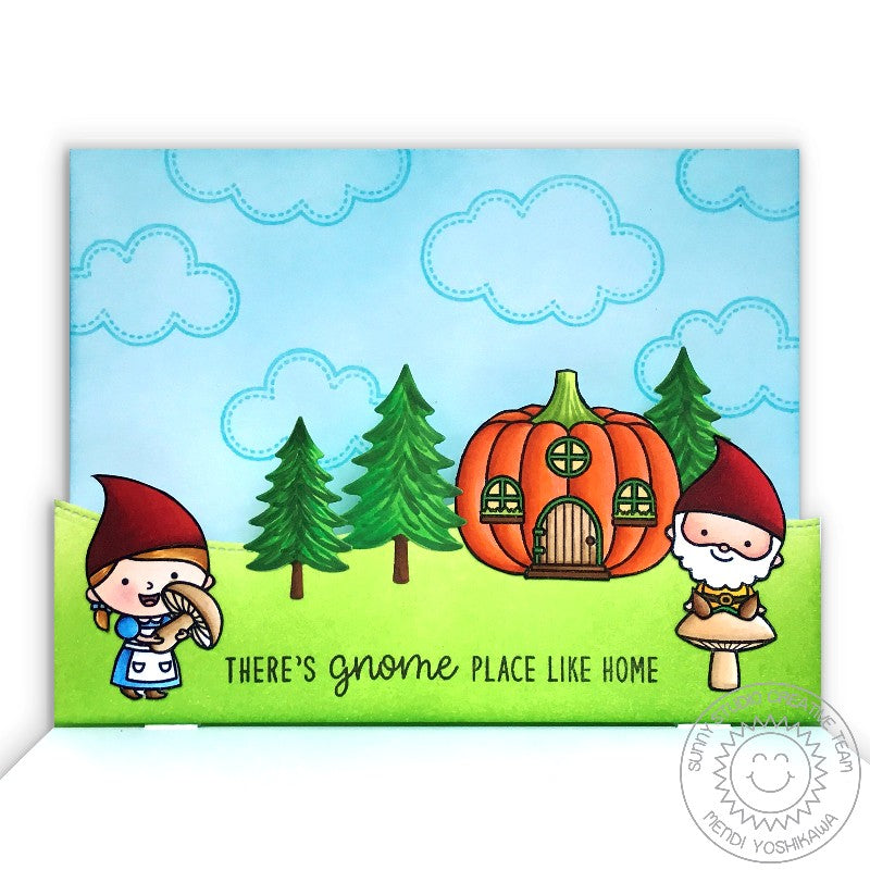 Sunny Studio Stamps Gnomes & Pumpkin House Pop-up Card using Woodland Borders Die
