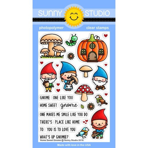 Sunny Studio Stamps Home Sweet Gnome Fall 4x6 Photopolymer Stamp Set with Pumpkin House, Mushrooms, bird, sunflowers & Gnomes