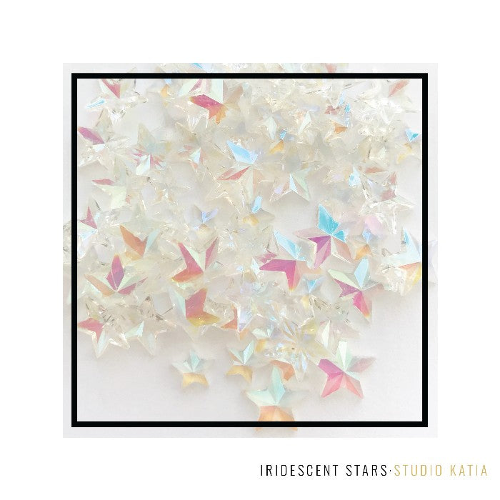 Studio Katia Iridescent Clear Star Crystals Embellishments- 5mm & 7mm
