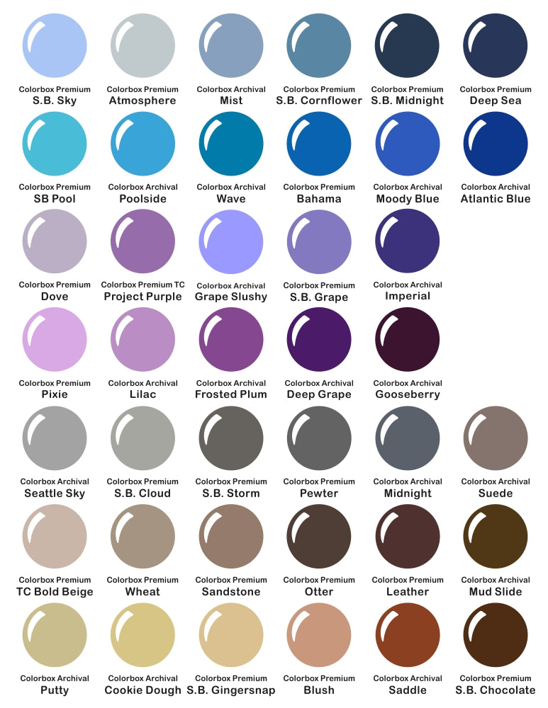 Colorbox Premium & Archival Dye Ink Pad Color Chart by Sunny Studio Stamps