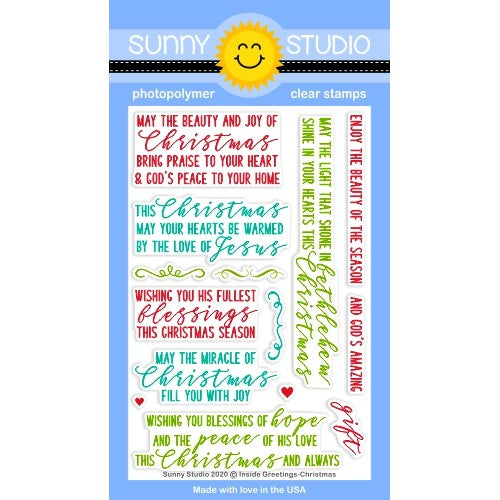 Sunny Studio Stamps Card Inside Greetings Christmas 4x6 Clear Photopolymer Christian Faith Based Sentiment Phrase Stamp Set