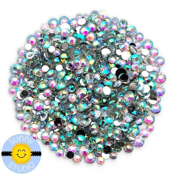 Sunny Studio Stamps Transparent Iridescent Faux Jewels Rhinestones Crystals Gems- 3mm, 4mm & 5mm