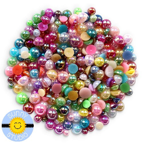 Sunny Studio Stamps 3mm, 4mm, 5mm & 6mm Rainbow Colorful Flat Backed Iridescent Pearlescent Glossy Pearls Embellishment assortment mix for card making, paper crafts and scrapbooking